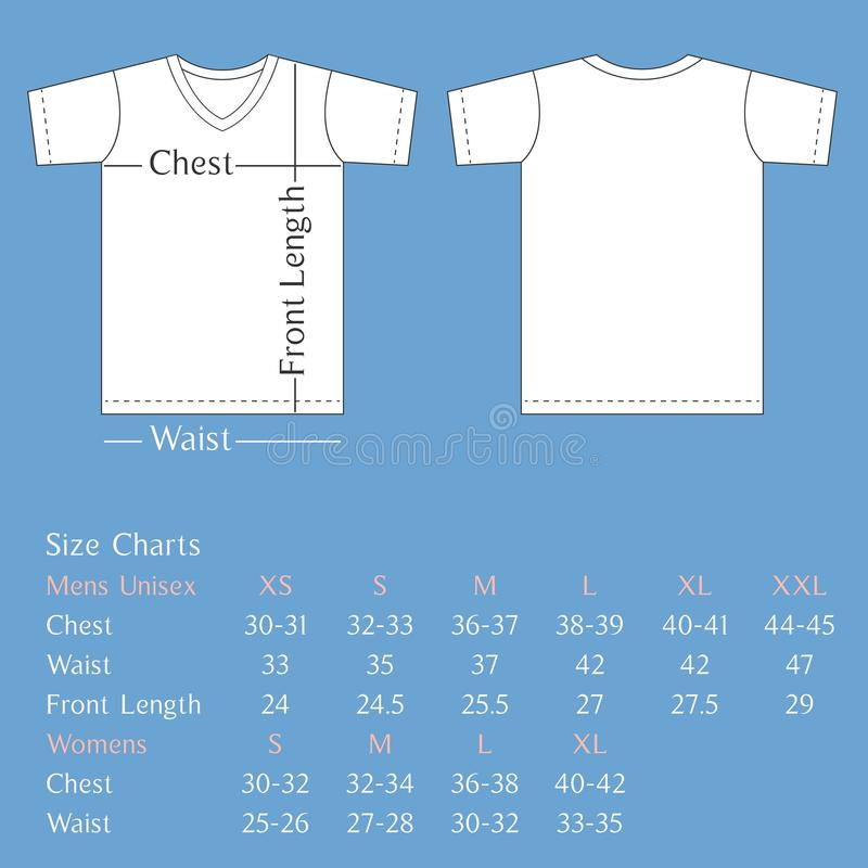 T Shirt Template Back And Front With Size Chart For Man And Woman - T shirt design size template