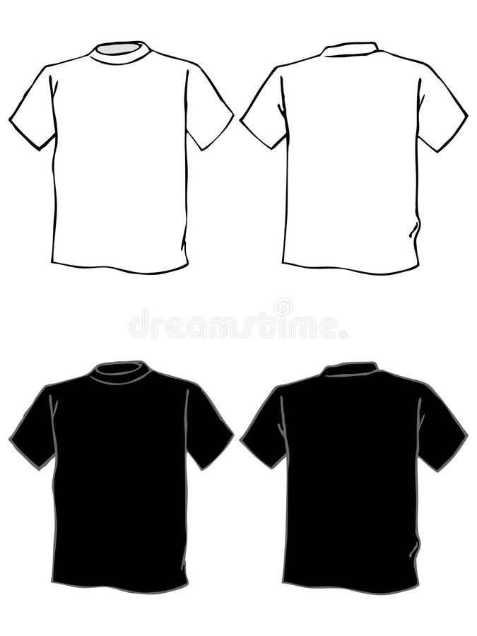 Download T Shirt Template In Black And White Stock Vector - Image: 21037348