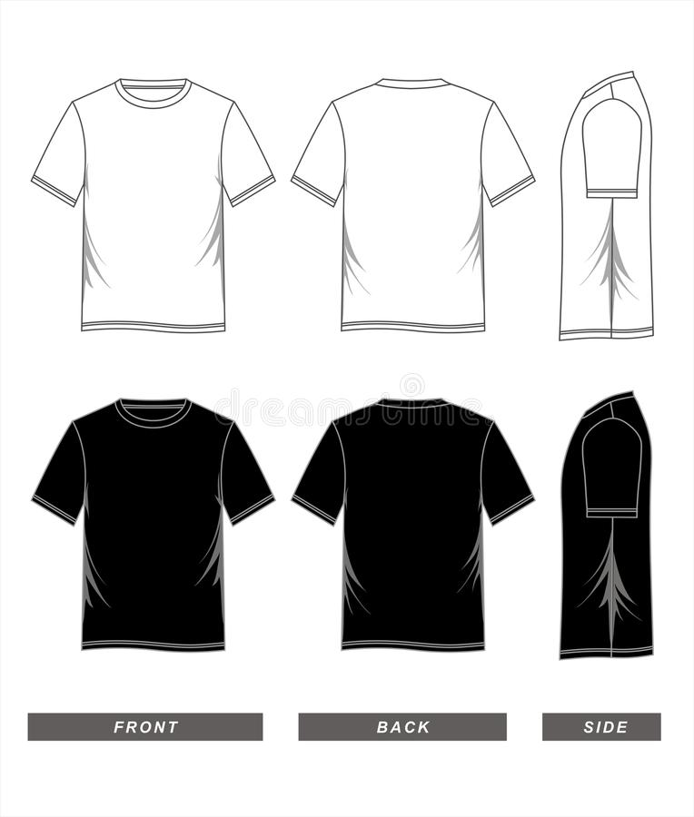 T-shirt template black white, front, back, side. Man`s t-shirt template black white, front, back, side stock illustration