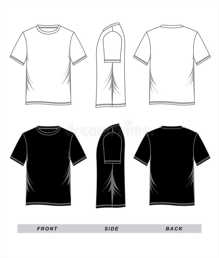 T-shirt Template Black White, Front, Side, Back Stock ...