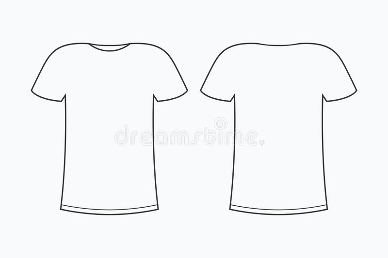 T-shirt Template. Blank Line Tee-shirt. Front And Back. Vector ...