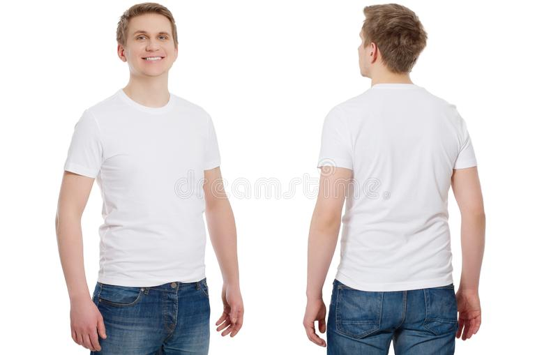 T-shirt template and blank. T shirt front and back view. Mock up isolated on white background. Copy space royalty free stock photo