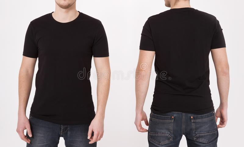 T-shirt template black. Front and back view. Mock up isolated on white background. stock photo