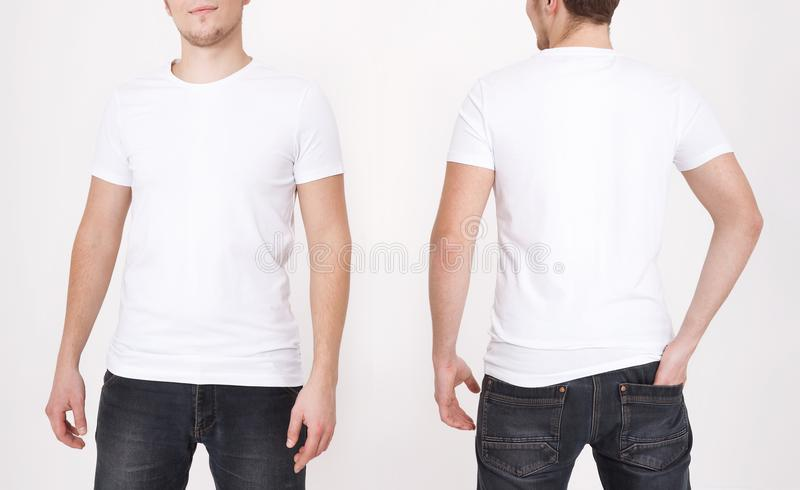 T-shirt template. Front and back view. Mock up isolated on white background. royalty free stock image