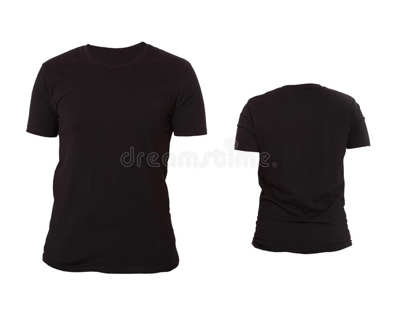 T-shirt template. Front and back view. Mock up isolated on white background. Blank Shirt. Black Big and Small Shirts Set royalty free stock image