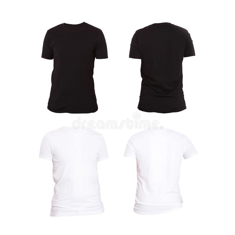 Close Up Of Man Blank Black And White T Shirt Isolated On White