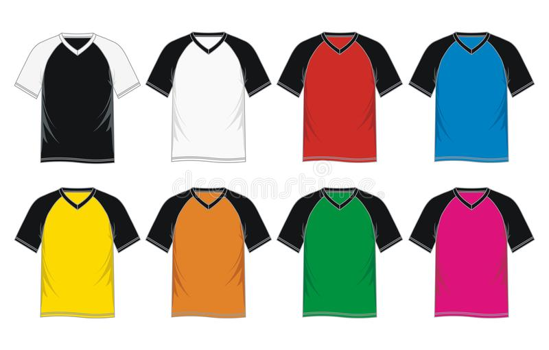 T Shirt Template Raglan Sleeve V-neck Stock Vector - Illustration of ...
