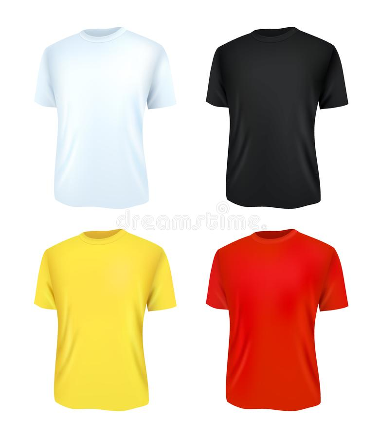 T-shirt template set, front view. Realistic vector illustration. Sport clothing. Casual men wear. stock illustration