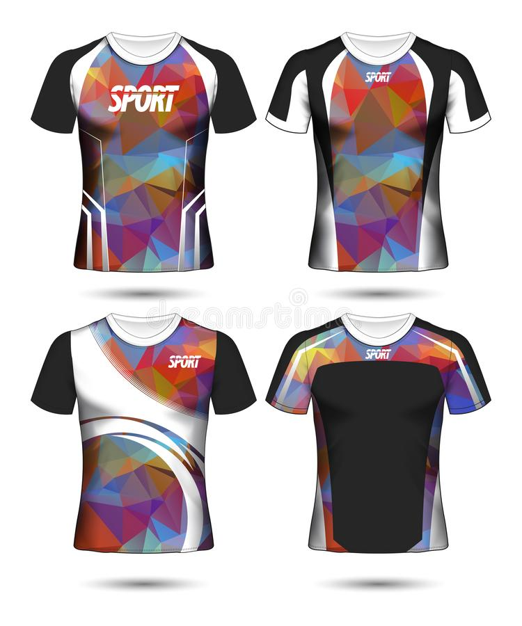 T-shirt templates abstract geometric collection of different colors polygonal mosaic royalty free stock photography