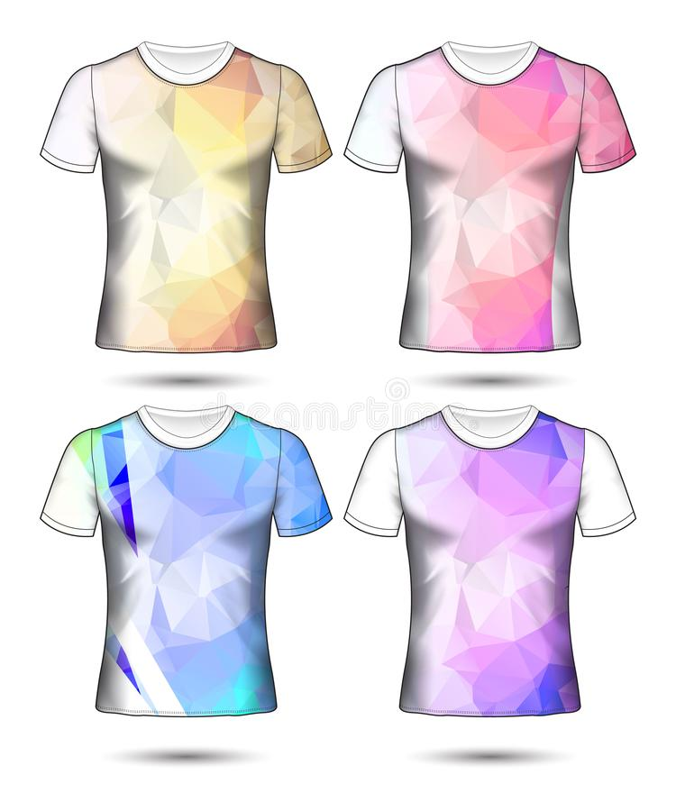 T-shirt templates abstract geometric collection of different colors polygonal mosaic royalty free stock photo