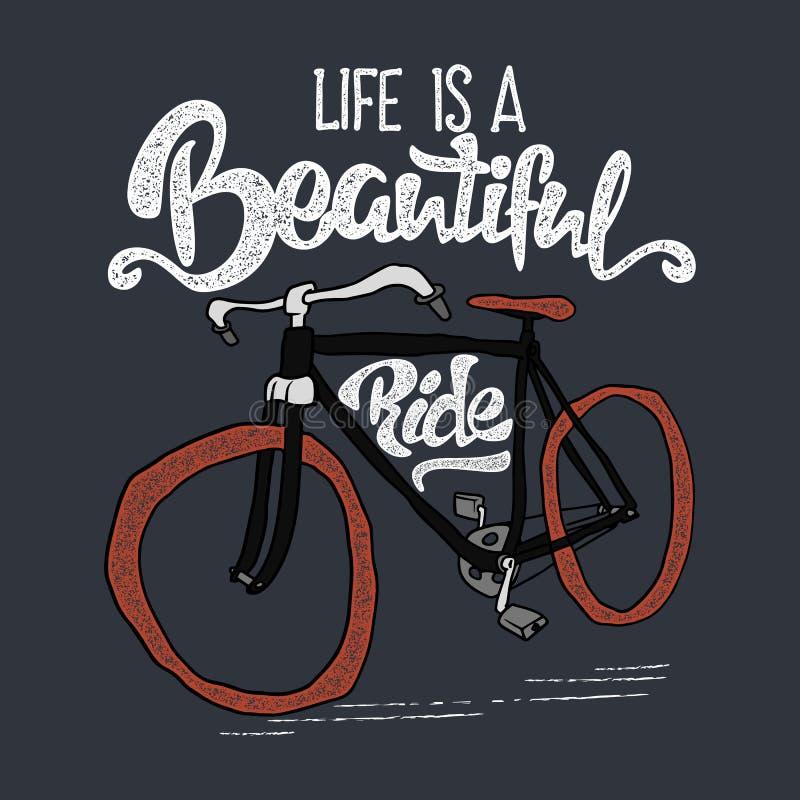 T-shirt tirado mão do moderno Bicicleta retro e rotulação do vintage ilustração do vetor
