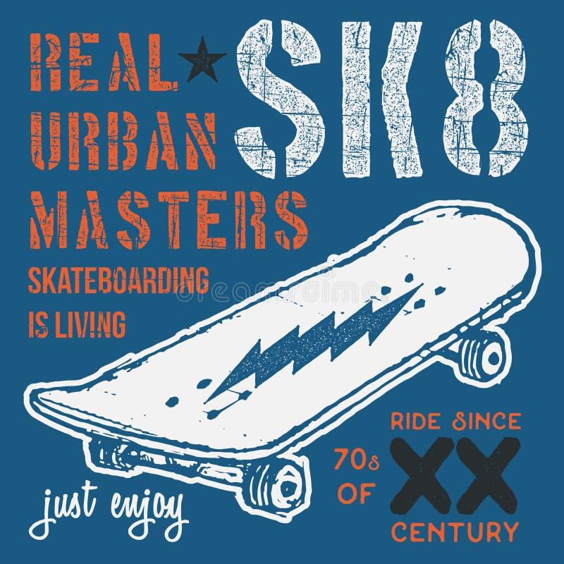 T-Shirt Typografiedesign, Skateboarddruckgraphiken, typografische Skateboard fahrende Vektorillustration, städtisches Schlittschu vektor abbildung