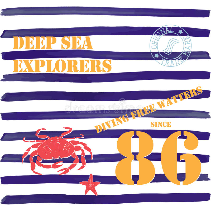 T-shirt typography design, deep sea explorers printing graphics, typographic vector illustration, Navy, diving water text, graphic. Design for label or t-shirt royalty free illustration