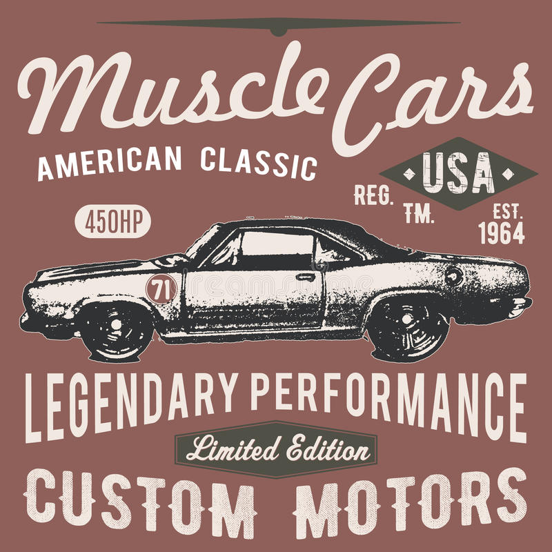 T-shirt typography design, retro car vector, printing graphics royalty free illustration