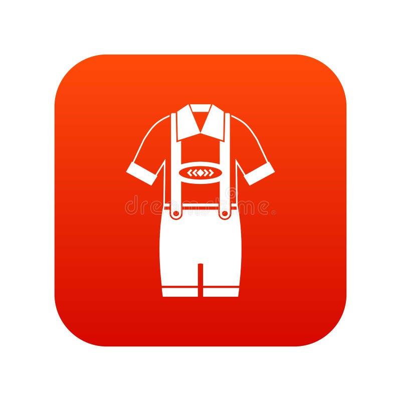 T-Shirt und Hosen mit digitalem Rot der Hosenträgerikone lizenzfreie abbildung