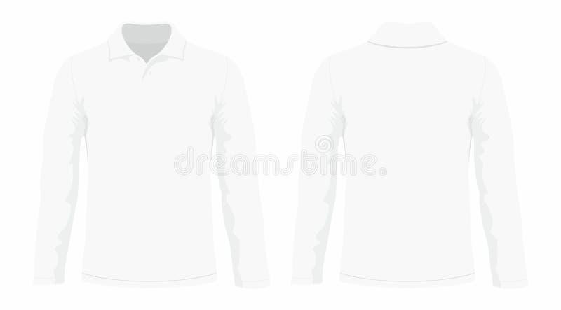 T-shirt van de mensen` s de witte lange koker stock illustratie