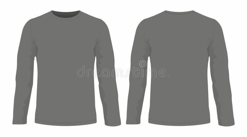 T-shirt van de mensen` s de zwarte lange koker vector illustratie