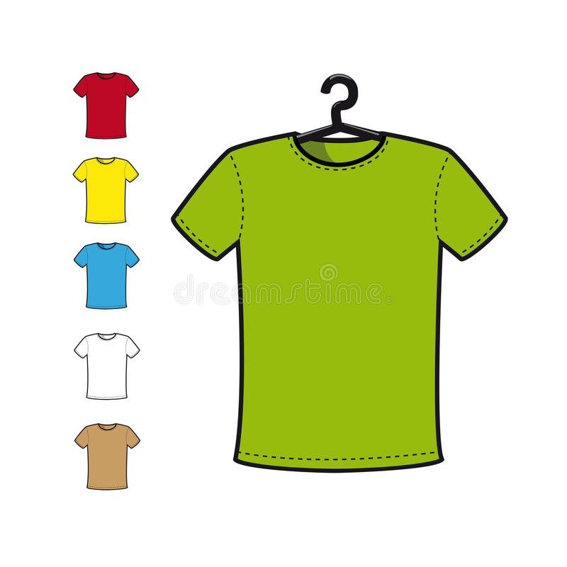 T-SHIRT in various colors royalty free illustration