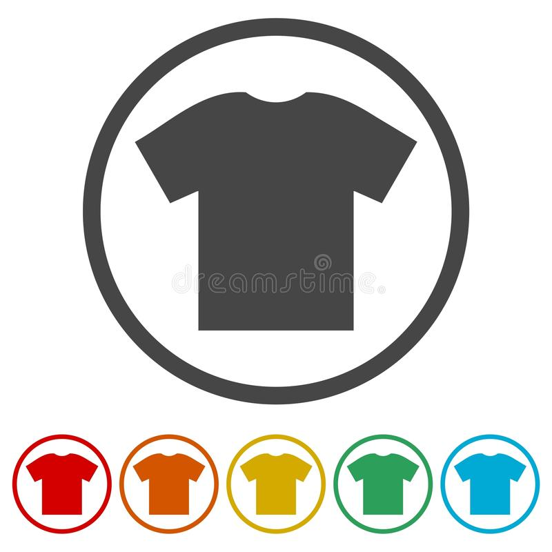 T-Shirt Vektorikone, Vector leeres T-Shirt Ikonen-Symbol, 6 eingeschlossene Farben vektor abbildung