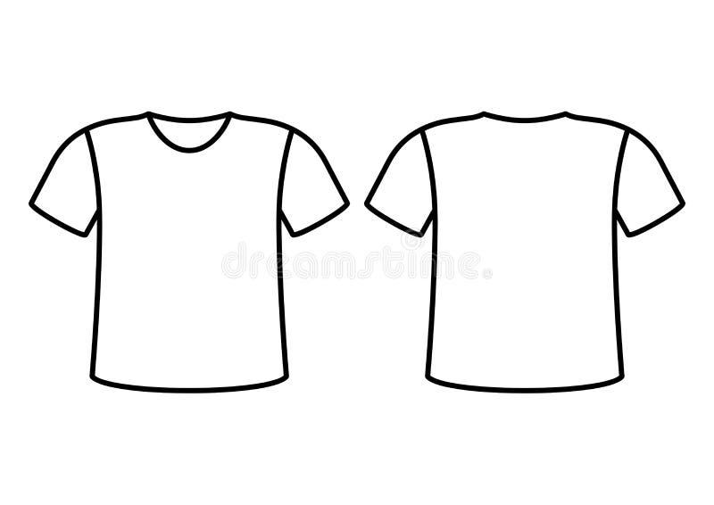 T-shirt vooraanzicht, achtermening Vector illustratie vector illustratie