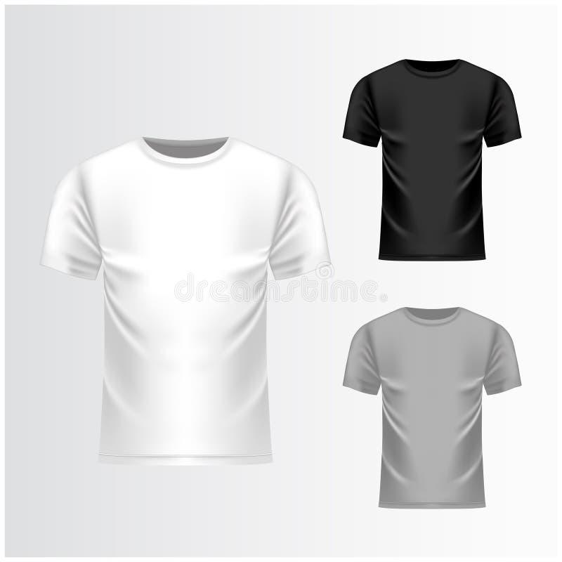T-Shirt weiß, graue, schwarze Schablone, Vorderansicht Realistischer Spott des Vektors oben vektor abbildung
