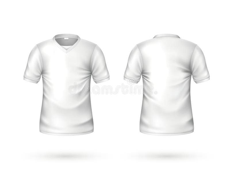 Vector realistic t-shirt white blank mockup stock illustration