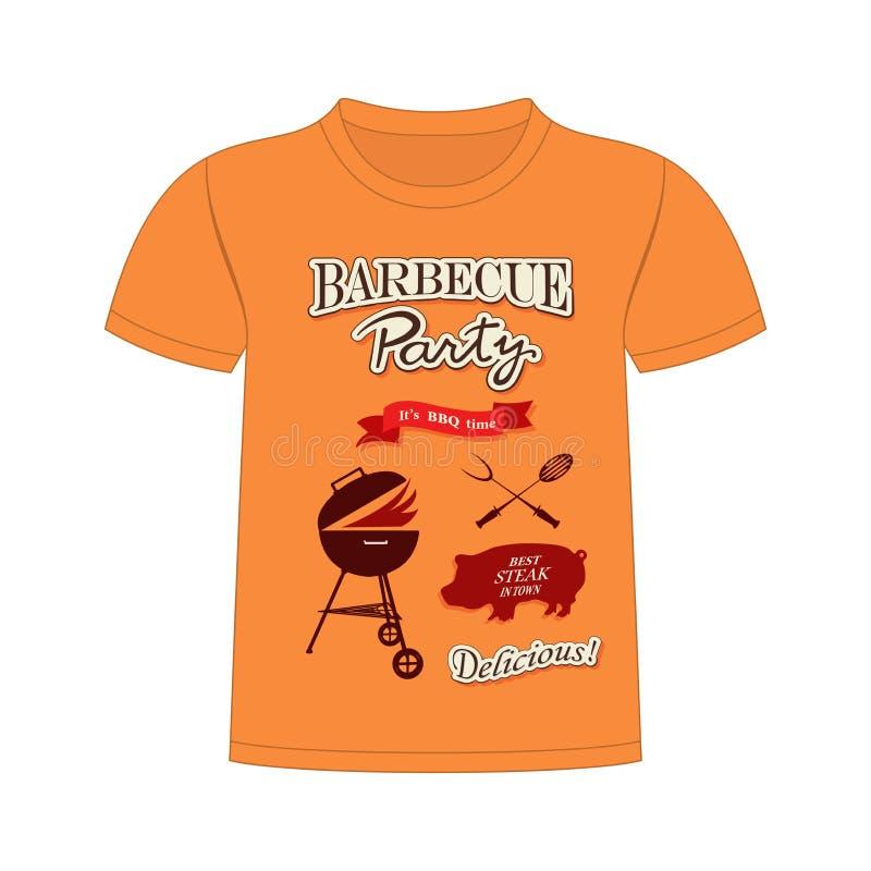 T-shirtbbq Ontwerp stock illustratie
