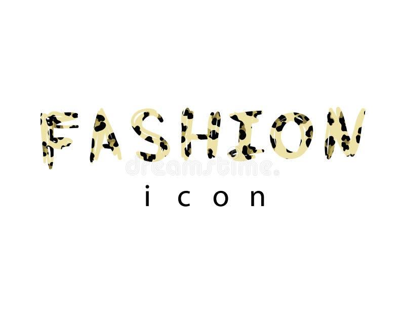 T-shirtdruk met geweven het pictogramluipaard van de sloganmanier Modieus ontwerp voor t-shirt stock illustratie