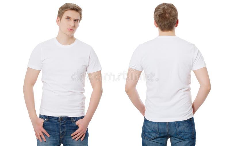 T-shirtmalplaatje en spatie T-shirt voor en achtermening Spot op witte achtergrond omhoog wordt geïsoleerd die De ruimte van het  royalty-vrije stock afbeeldingen