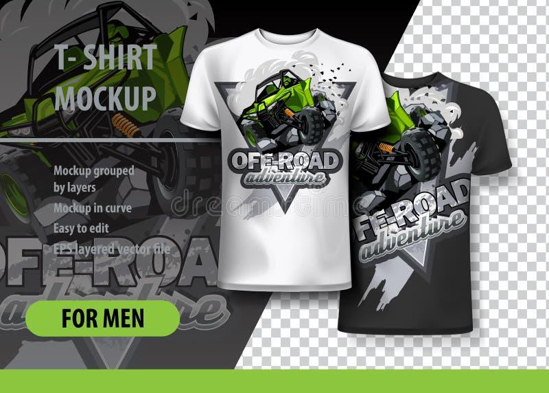 T-shirtmalplaatje, volledig editable met Groene ATV Met fouten vector illustratie