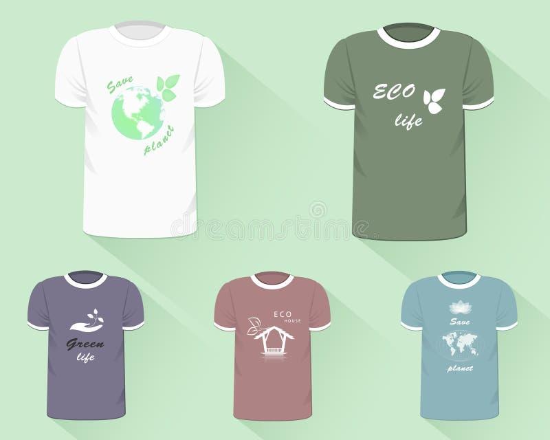 T-shirtmalplaatjes Realistische t-shirts met eco-ontwerp drukken vector illustratie