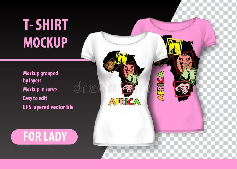 T-shirtmodel met Afrika in twee kleuren Gelaagd en editable model vector illustratie