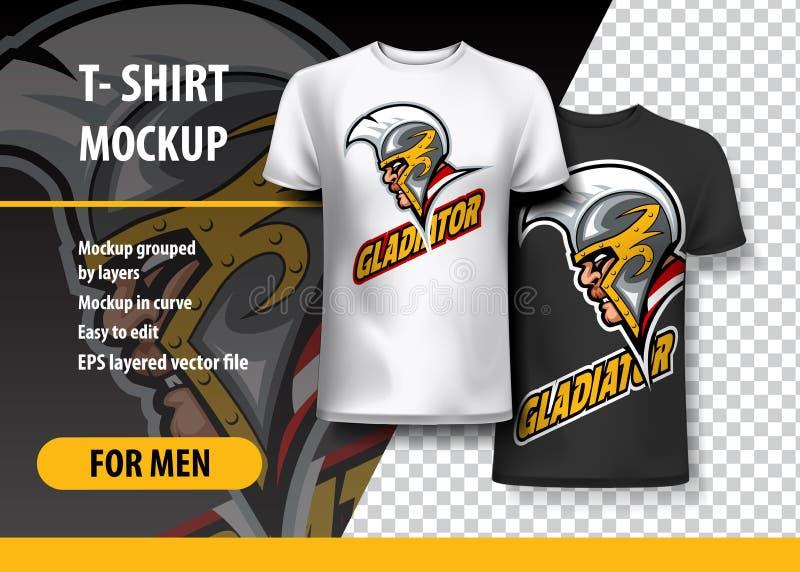 T-shirtmodel met Gladiator zij Hoofd, volledig editable vector illustratie