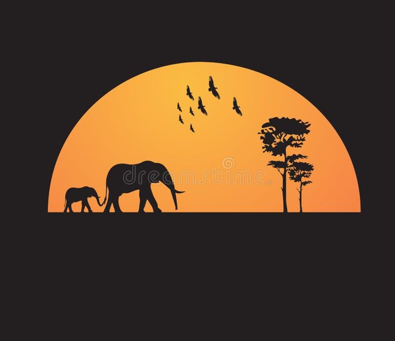 T-shirtontwerp - de zonsondergang van Afrika stock afbeeldingen