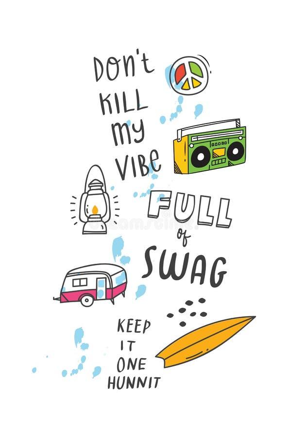 T-shirtontwerp met citaten en flarden vector illustratie
