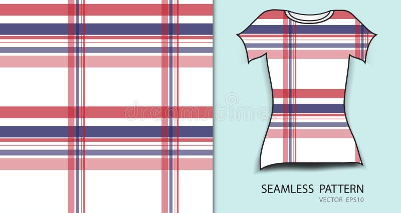 T-shirtontwerp, Rode en blauwe naadloze het patroon vectorillustratie van het plaidgeruite schots wollen stof, stoffentextuur, ge stock illustratie