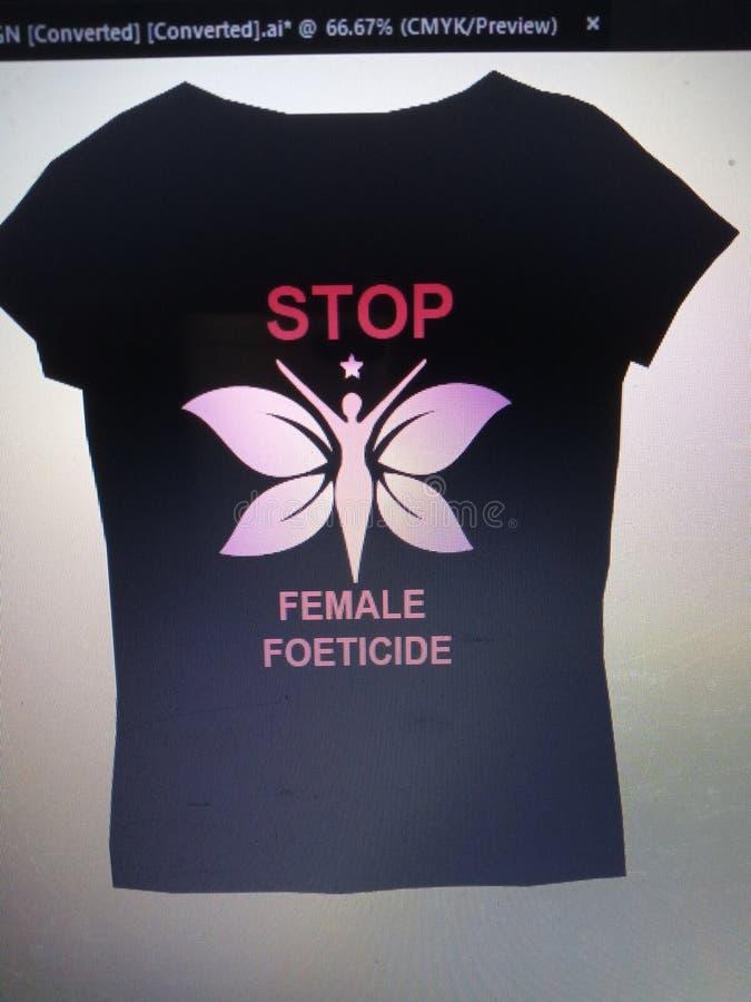 T-shirtontwerp voor vrouwelijke foeticide royalty-vrije stock foto