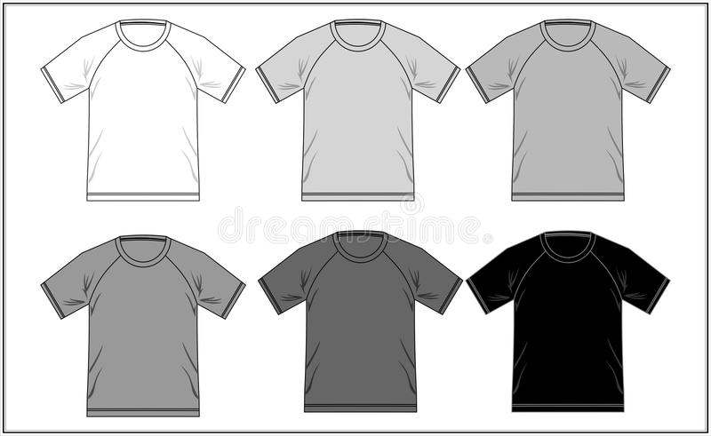 T-shirtraglan Zwart Wit 06, Vector stock illustratie