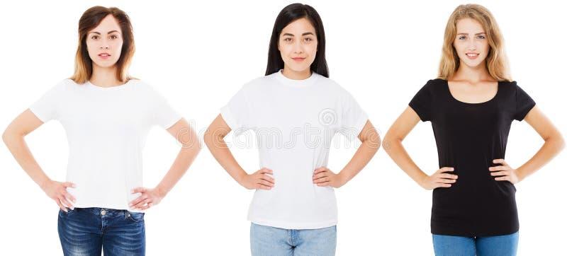 T-shirtreeks, spatie, vrouwen met handen op de riem, Aziatische Koreaanse en witte geïsoleerde vrouw in t-shirt Zwarte witte en l stock afbeelding