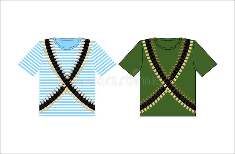 T-shirts avec la ceinture de cartouche d'impression Habillement pour le festival en février illustration libre de droits