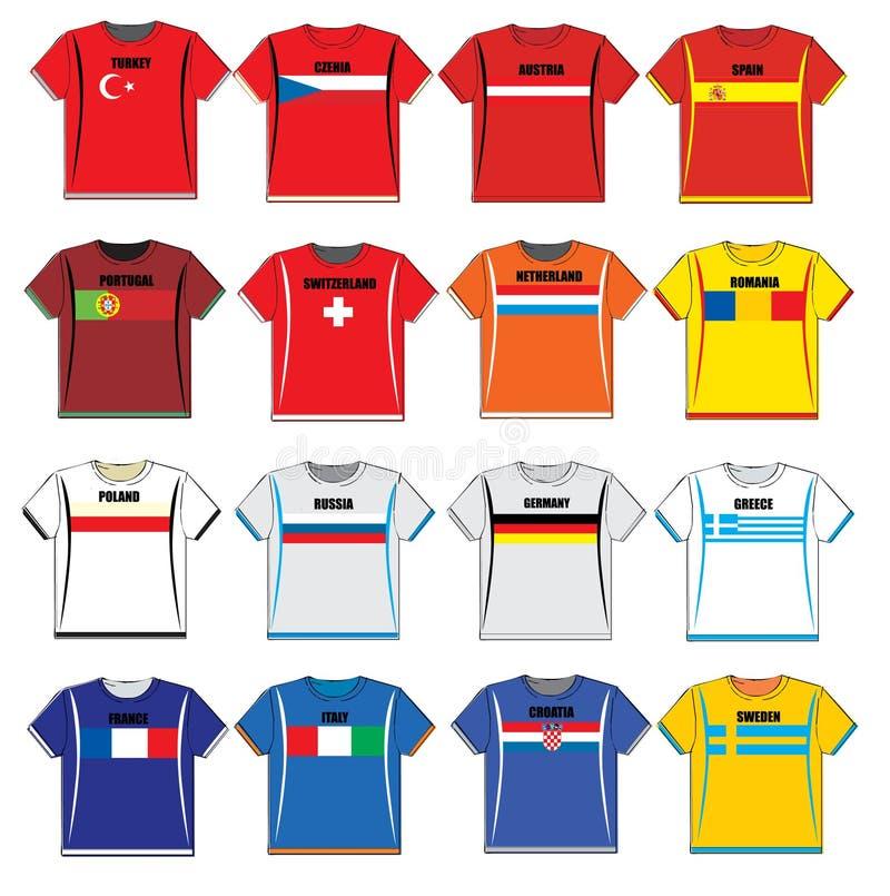 T-shirts avec les drapeaux européens illustration stock