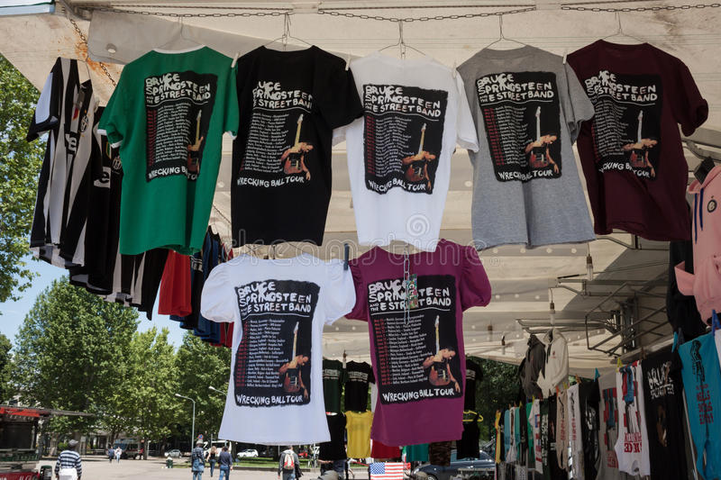 T-shirts de tour du monde 2013 de Springsteen photos stock