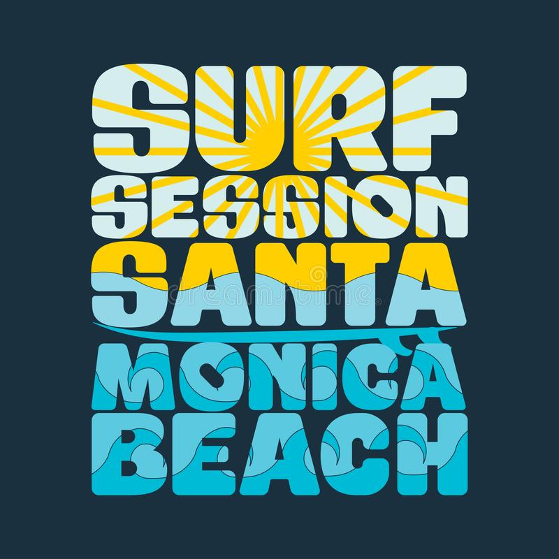 T-Shirts, die Sitzung, T-Shirts Santa Monica, Wassersport surfen stock abbildung