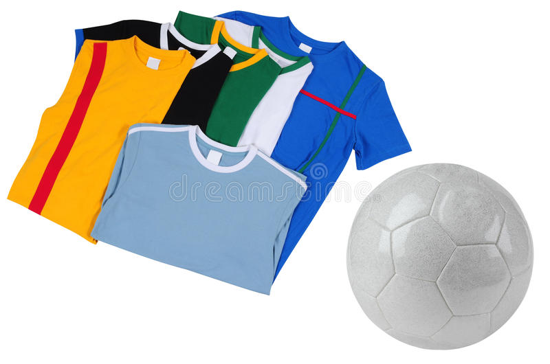 T-shirts du football. D'isolement image stock