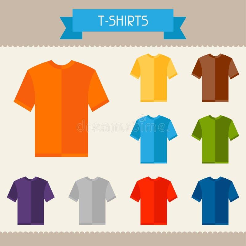 T-shirts gekleurde malplaatjes voor uw ontwerp in vlakte stock illustratie