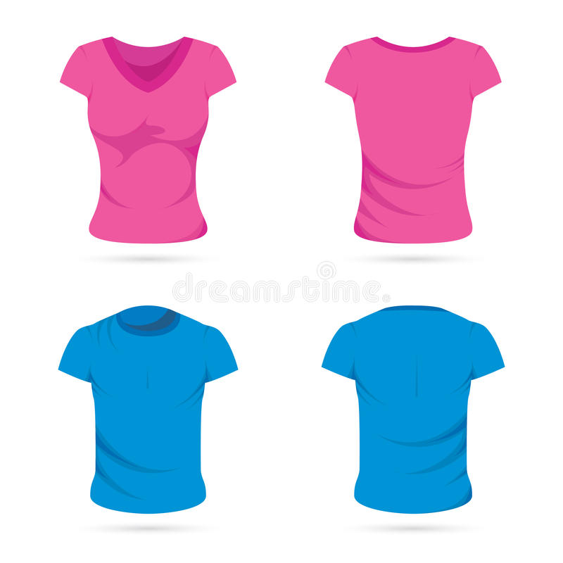 T-shirts mâles et femelles illustration libre de droits