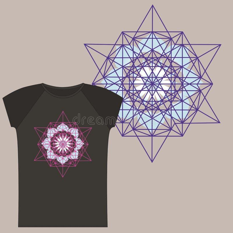 T-shirts met de druk van de Tetrageder van de Ster royalty-vrije illustratie