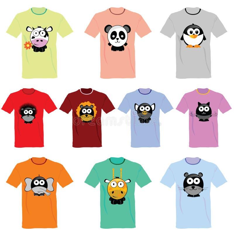 T-Shirts mit Bildern der Tierillustration vektor abbildung