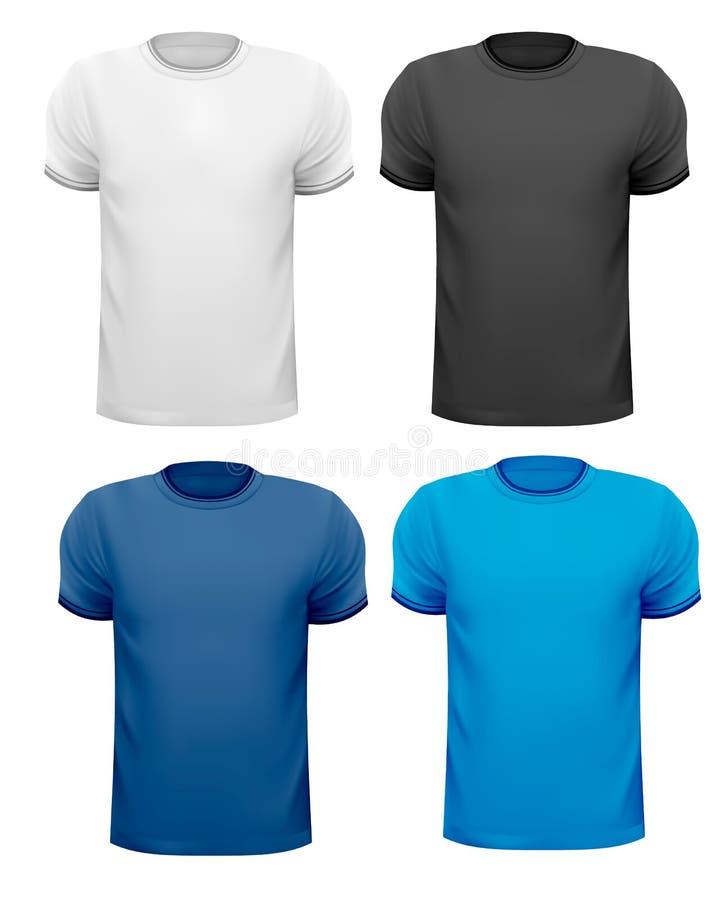 T-shirts noirs et blancs et de couleur d'hommes. illustration stock