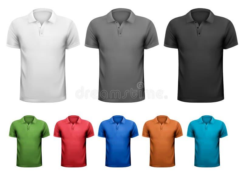T-shirts noirs et blancs et de couleur d'hommes. Tem de conception illustration libre de droits